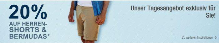 Top! Galeria Kaufhof Dienstag Angebote: heute 20% Rabatt auf ausgewählte Herren Bermudas