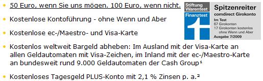 *Update* Comdirect Girokonto mit 50€ oder 100€ Bonus + GRATIS VISA Karte (keine Gebühren)