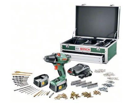 Bosch PSR 18 LI 2 Akku Bohrschrauber: Bosch PSR 18 LI 2 mit 2 18V Lithium Ionen Akku und 241 tlg Zubehör für 193,95€