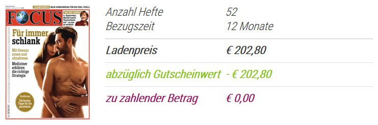 Kostenlos ! 1 Jahr den FOCUS gratis (Wert 202,80€)! [E Paper]