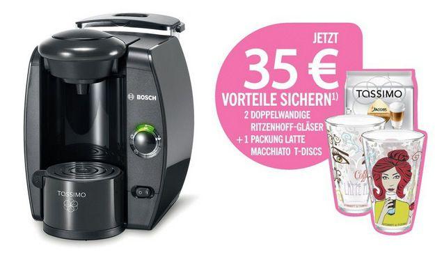 Wieder da! Bosch Tassimo TAS4000 ab 35€ + 1 Packung Latte Macchiato + 2 Ritzenhoff Gläser