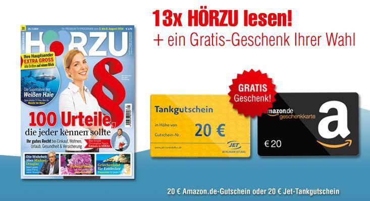 Hörzu   21 Ausgaben dank Amazon oder Tank Gutschein   effektiv nur 2,10€