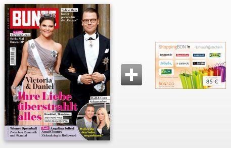 26 Ausgaben BUNTE Halbjahresabo für 88,40€ + 85€ ShoppingBon Gutschein!