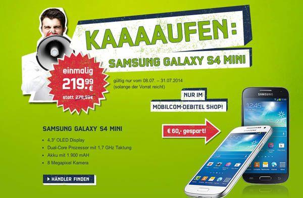 Samsung Galaxy S4 mini Samsung Galaxy S4 mini, Smartphone mit 8GB für 219,99€