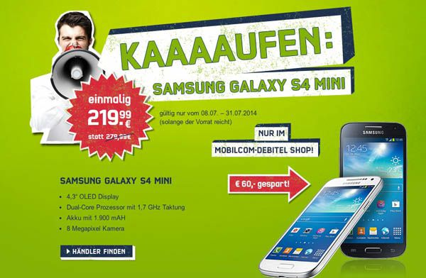 Samsung Galaxy S4 mini, Smartphone mit 8GB für 219,99€