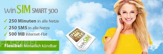 winSIM Smart 500 7,95€ Tarif bei winSIM   250 Minuten, 250 SMS und 500MB