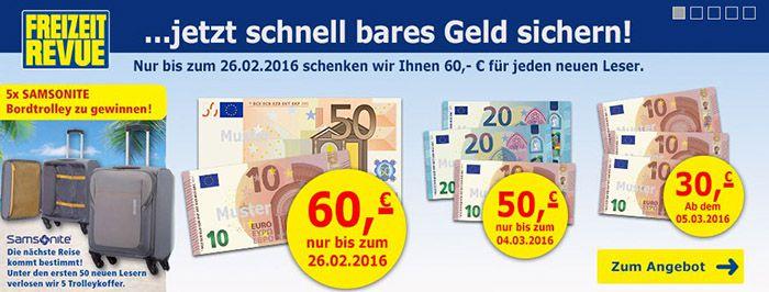 Freizeit Revue1 Jahresabo Freizeit Revue für effektiv 38,80€ dank 60€ Bargeldprämie