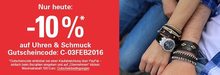 10% ebay Gutschein auf Uhren & Schmuck @ ebay bei Zahlung per Paypal