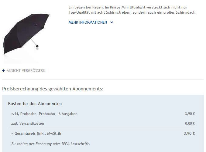 Knirps 10 Ausgaben TV14 + KNIRPS Regenschirm (Wert 35€) für nur 3,90€   wieder da