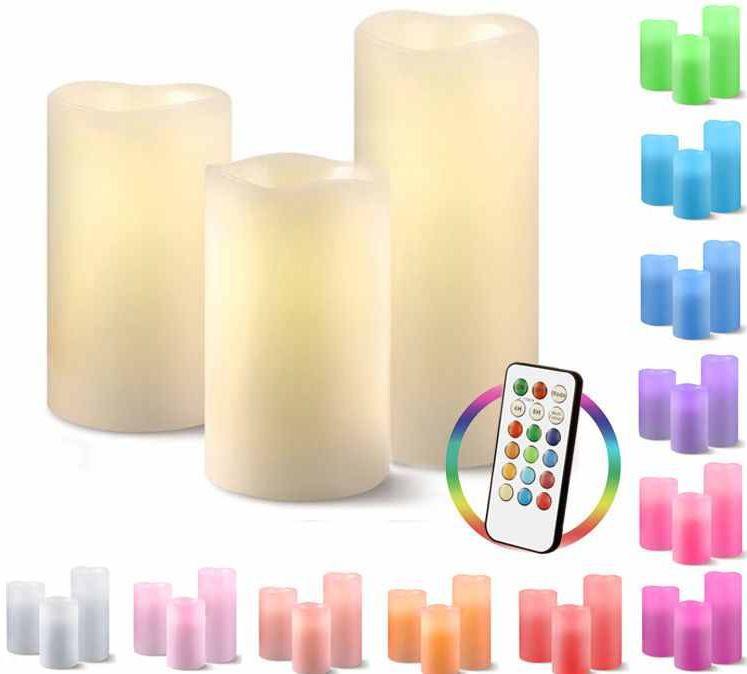 LED Echtwachskerzen mit Farbwechsel und Ferbedienung  im 3er Set für 14,99€