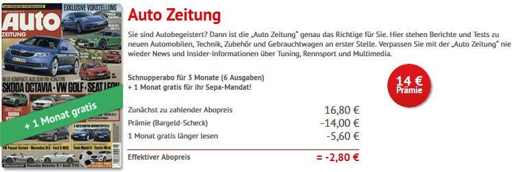 autozeitung abo 4 Monate Autozeitung Abo mit 2,80€ Gewinn