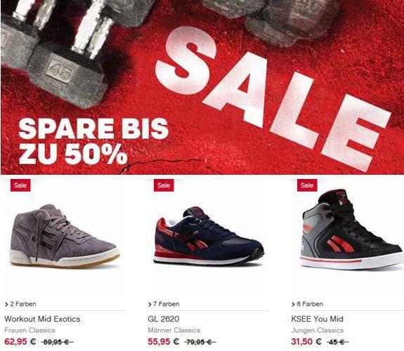 Reebok Sale mit bis zu 50% Rabatt + 15% NL Gutschein   Update
