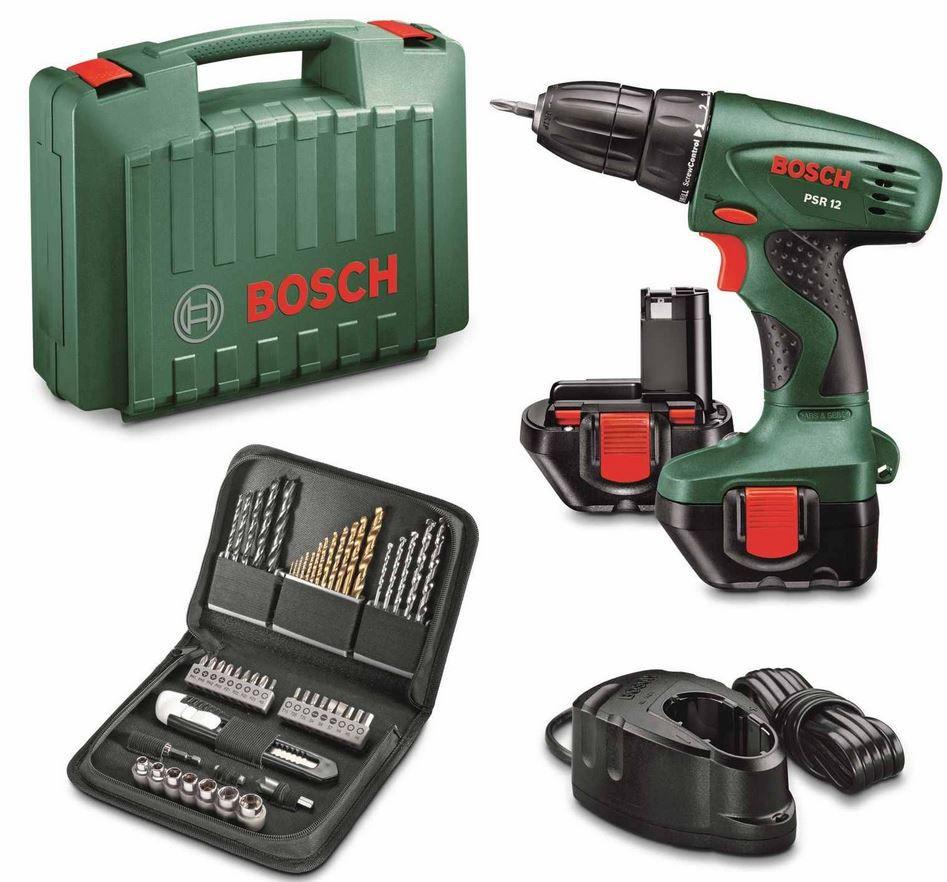 Bosch  PSR 12   2 Gang Akku Bohrschrauber + Zubehör + Koffer für 79,99€