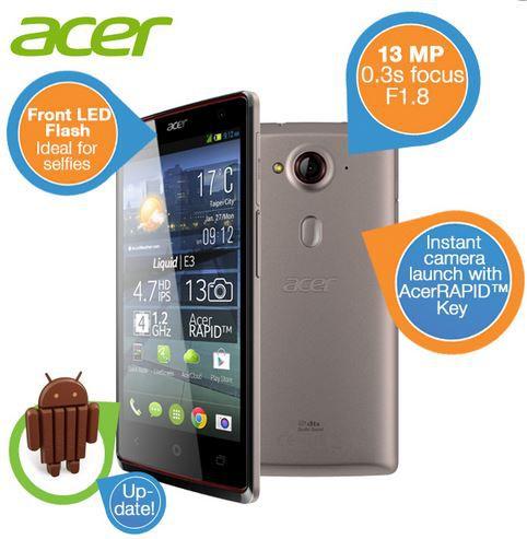 Acer Liquid E3 Duo Dual Sim Smartphone mit ACERRapid Taste für 155,90€