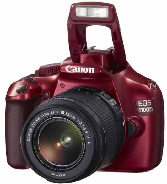 EOS11 Canon EOS 1100D   12MP SLR Digicam mit Objektiv EF S 18 55 IS in rot für 269€