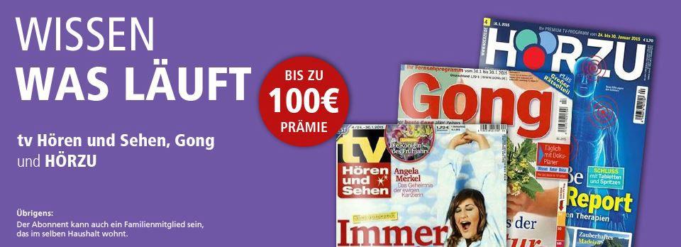 TV Sonderpreis HÖRZU, Gong oder tv Hören und Sehen im Jahresabo ab 6,40€