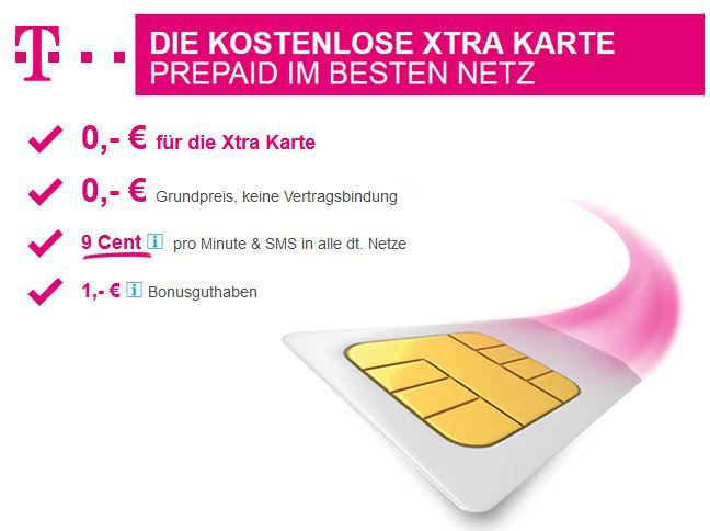 telekom  Kostenlose T Mobile Xtra Karte mit Guthaben   wieder da!