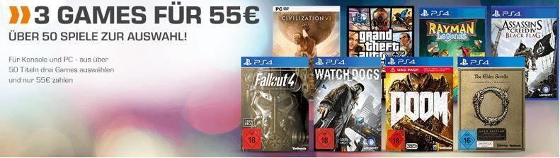 3 Games für 55€ 3 Games für 55€   z.B. (alle PS4) Watch Dogs + Fallout 4 + Doom (statt 68€)