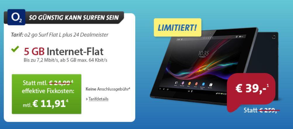 Sony Xperia Tablet Z inkl. LTE mit 5GB Datenflat für 325€ (Vergleich 395€)   Update