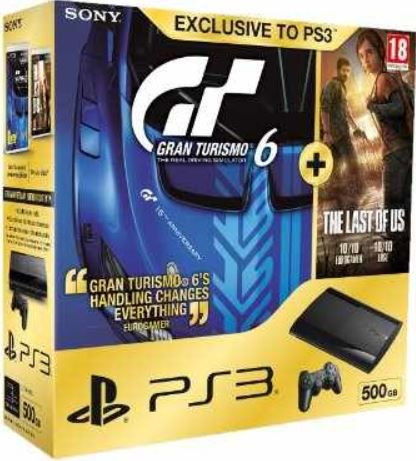PlayStation 3 Konsole mit 500 GB + GT 6 + The Last of Us als WHD für 165,79€
