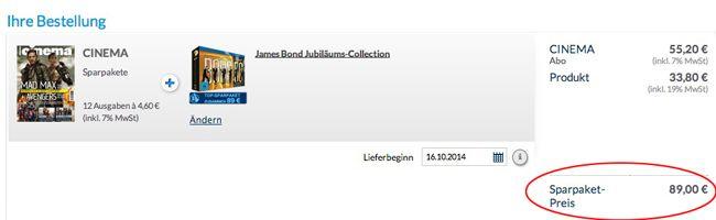 Bildschirmfoto 2014 09 05 um 13.51.29 Jahresabo CINEMA und als Prämie die Blu ray Limited Box James Bond, für nur 89€!