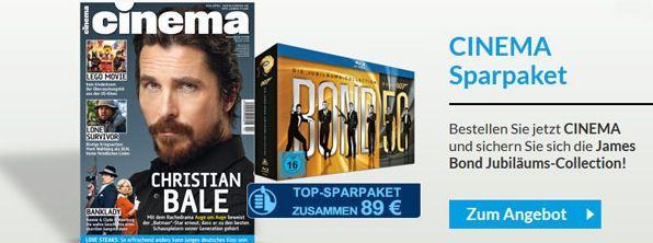 Cinema Jahresabo Jahresabo CINEMA und als Prämie die Blu ray Limited Box James Bond, für nur 89€!
