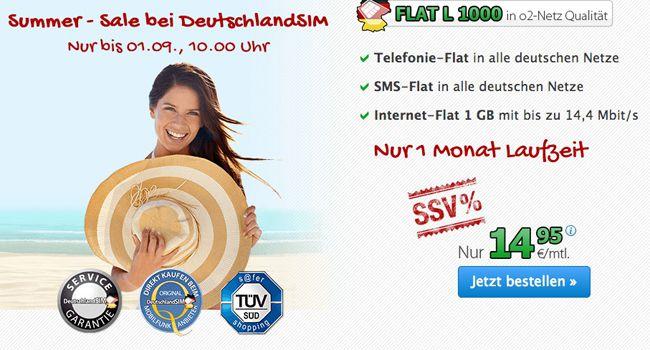 O² DeutschlandSIM  Telefon FLAT L inkl. SMS & 1GB Daten Flat nur 14,95 € monatlich kündbar