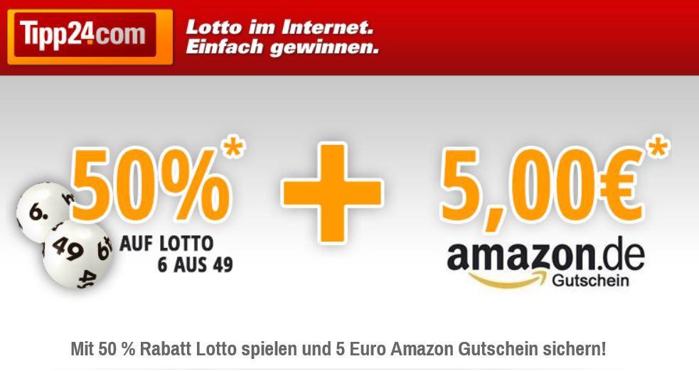 Lotto Tipp24 mit 50% Rabatt Lotto 6 auf 49 auch Bestandskunden + 5€ Amazon Gutschein nur Neukunden