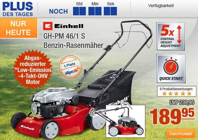 Plus.de   bis 24 Uhr 10% Rabatt auf fast alles   z.B. Einhell GH PM 46/1 S Benzin Rasenmäher für 171€