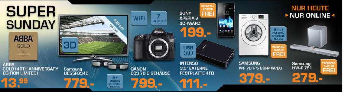 SONY Xperia V Smartphone für 199€ und mehr bei den Saturn Super Sunday Angeboten