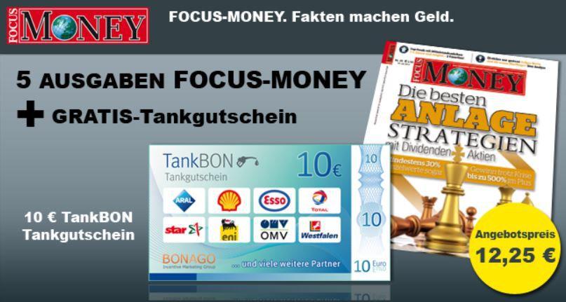 Tanken 5 Ausgaben FOCUS für effektiv 2,25€ oder FOCUS MONEY für effektiv 2,75€ dank Gutschein!