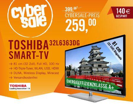 Toshiba 32L6363DG für 259€   32 Full HD TV mit Triple Tuner und SmartTV