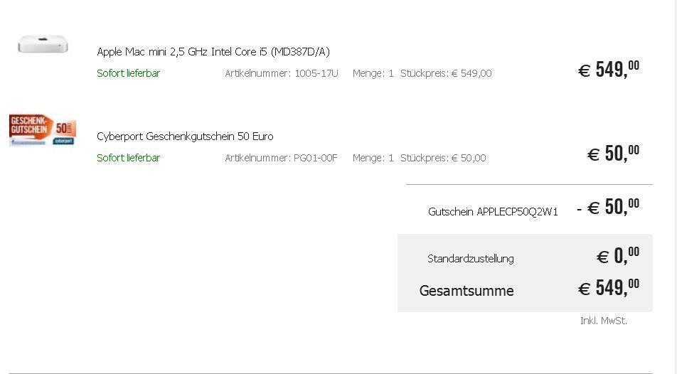 cyber Apple Mac mini 2,5Ghz für effektiv 499€ dank 50€ Gutschein auf viele Apple iMac   Knaller!