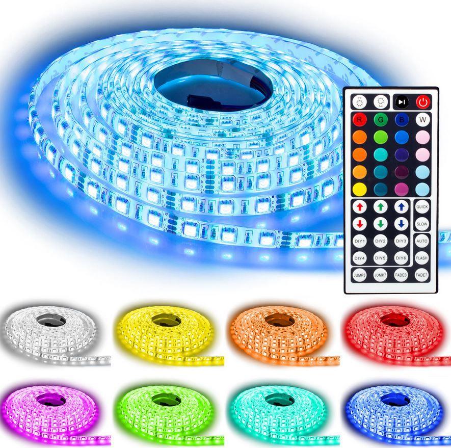 ebay12 NINETEC   5m LED SMD flexible Lichtleiste, In und Outdoor inkl. Netzteil, neuer Fernbedienung für 17,99€   Update