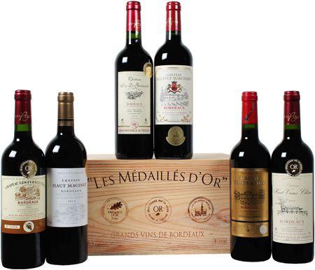 goldprämierte Bordeaux Selektion Goldprämierte Bordeaux Selektion für 31,49€   6 Flaschen Rotwein in Holzkiste