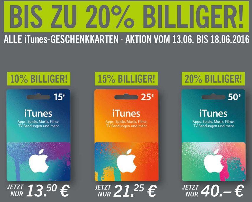 iTunes Gutschein iTunes Karten mit bis 20% Rabatt bei Lidl