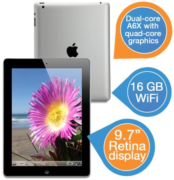 Apple iPad 4   64 GB schwarz mit Retina Display für 455,90€