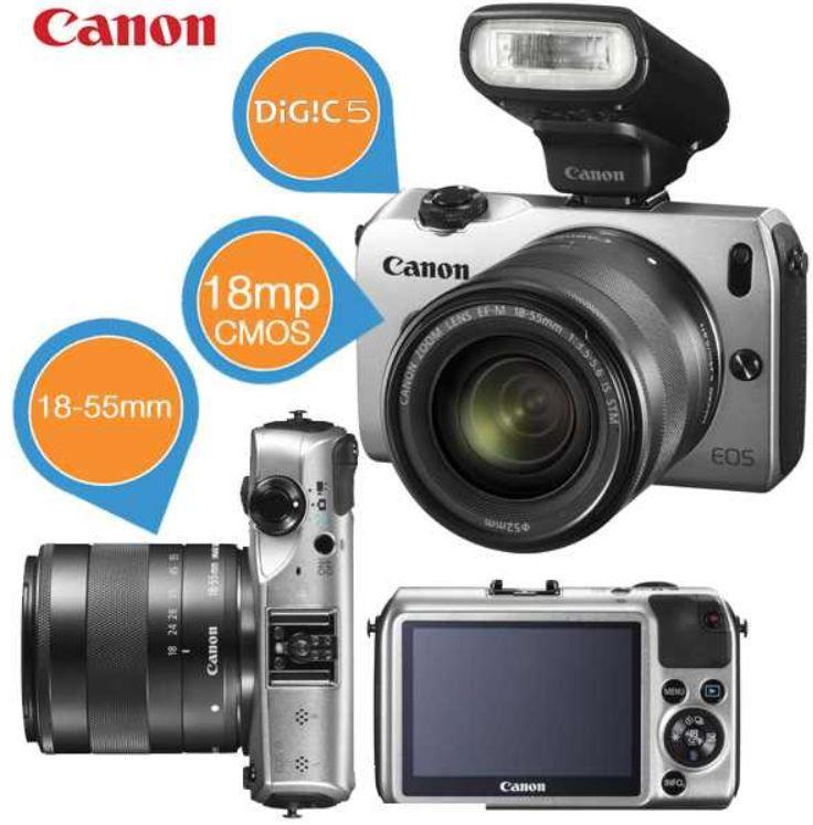 Canon EOS M mit 18 55 mm Objektiv für 275,90€ und Samsung WB1100F Bridge Kamera für 155,90€