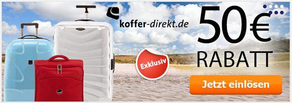 50€ koffer direkt Gutschein mit 249€ MBW   z. B. Samsonite: Cosmolite Spinner 55cm für 209,95€   Update