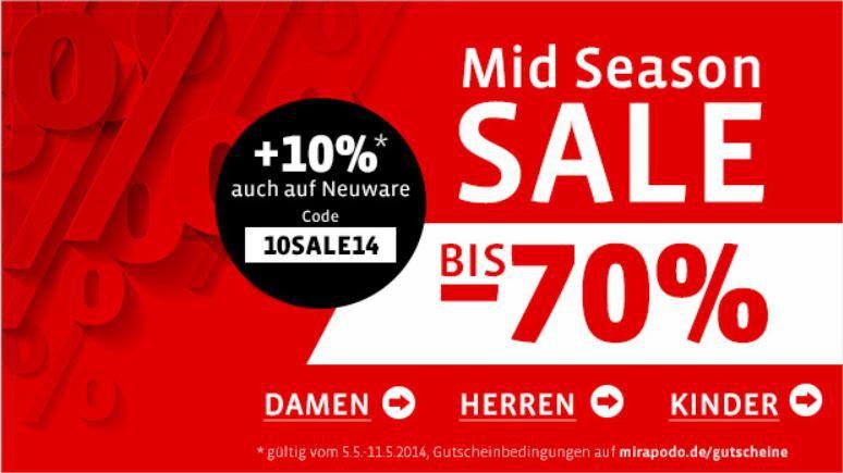 mein deal143 Mirapodo Sale mit bis zu 70% Rabatt + 10% Gutschein auf alles!