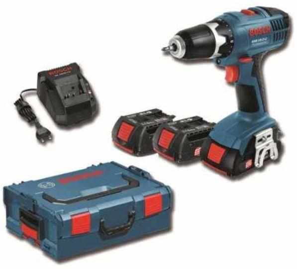 BOSCH GSB 18 V LI Professional   Schlagbohrschrauber mit 2 x 4,0Ah Akkus + Box für 299,99€