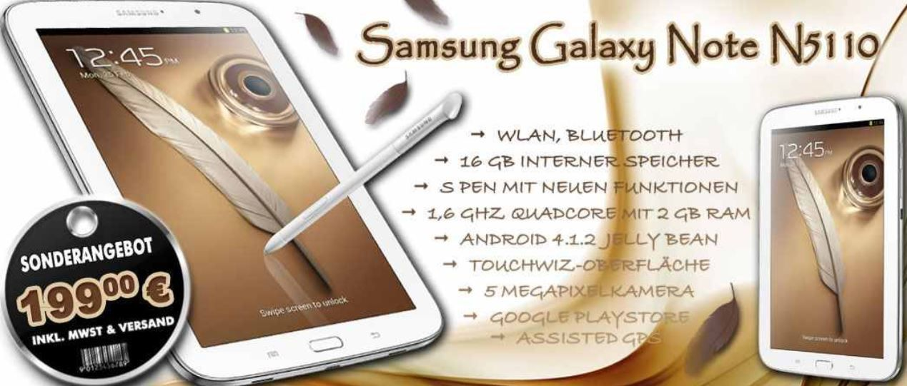 Samsung Galaxy Note 8.0 WiFi 16GB refurbished für 165,90€   Update