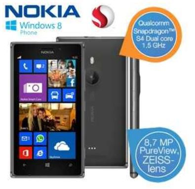 mein deal240 Nokia Lumia 925   Windows 8 Smartphone mit 8,7MP Kamera für 265,90€