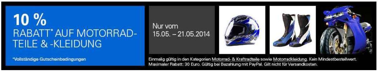 mein deal241  Motorrad & Kraftradteile sowie Motorradkleidung mit 10% PayPal Rabatt bei ebay