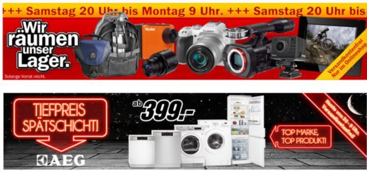 Foto Abverkaufs Aktion und Tiefpreisspätschicht bei Media Markt mit Kameras und Haushaltsmaschinen