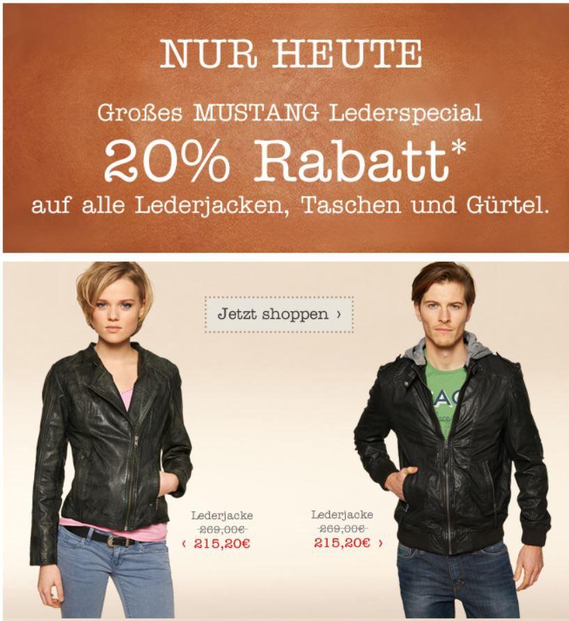 mein deal299 MUSTANG Lederspecial   20% Rabatt auf Lederjacken, Taschen und Gürtel auch im Sale!