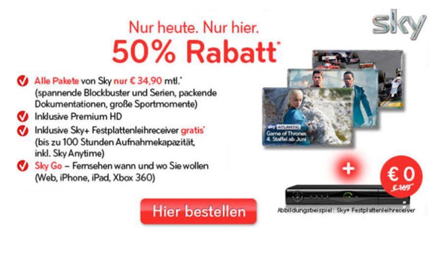 SKY Komplett inkl. HD, Sky Go, Film Paket und mehr mit nur 12 Monaten Laufzeit für 34,90€/Monat   Update
