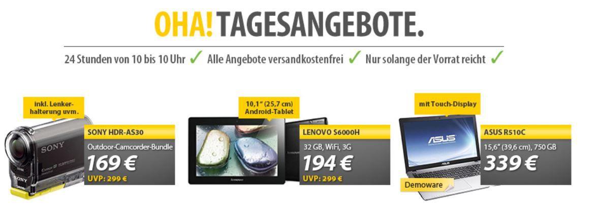 Sony HDR AS30V Videokamera für 169€ & Lenovo IdeaTab S6000 H für 194€ bei den OHA Angeboten