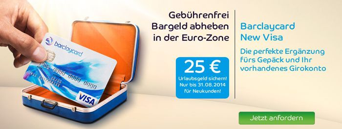 Barclay Kreditkarte Beitragsfreie Barclaycard New Visa Kreditkarte + 25€ Startguthaben   Update