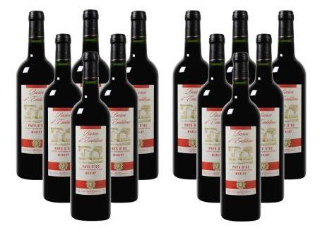 24 Flaschen Baron dEmblème Merlot Wein für nur 43,40€ (statt 167,76€)